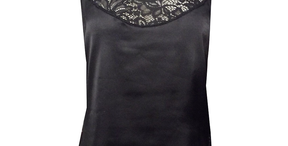 Rhapso Designs sleepwear Satin and lace cami pj top front view
