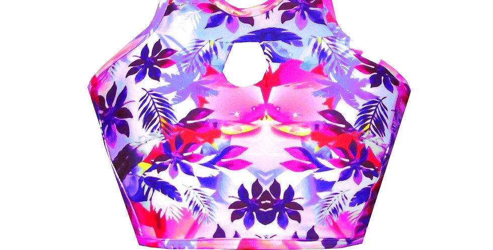 Rhapso's Jungle Print Keyhole High Neck Tank Crop Bikini Top BK21AP750 front view