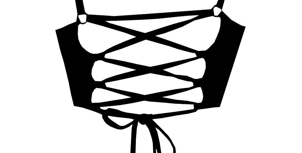BK61 Matt Black Strappy Dancer Crop Top by Rhapso Designs Polewear back view