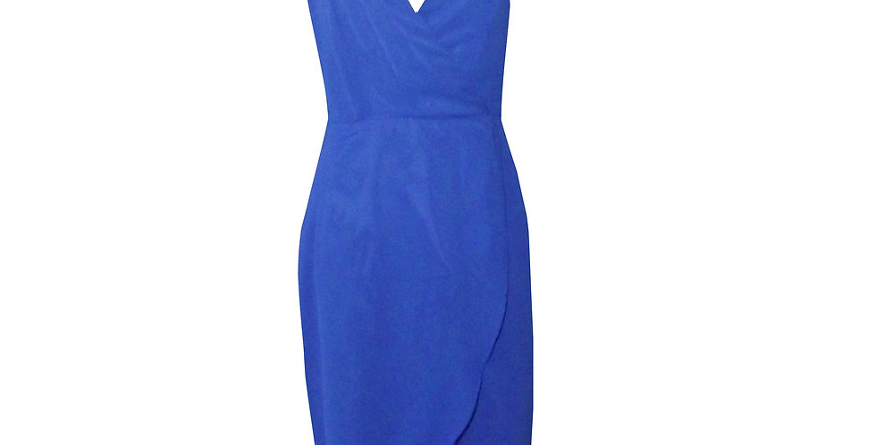 Rhapso Designs Semi Formal wear- Faux wrap halter dress in royal blue chiffon DR60RB front view