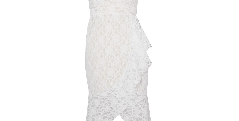 Rhapso Designs Cross Over Wrap Cocktail Dress in bridal lace DR36l front view