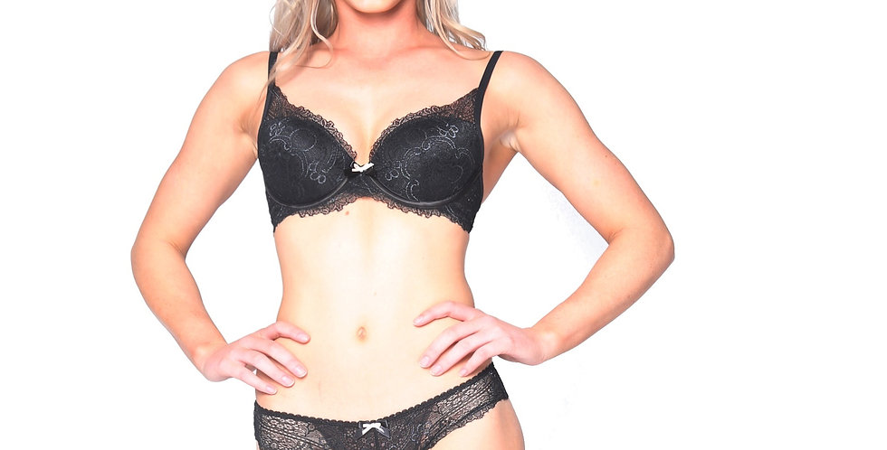 Kelsey plunge Bra and knicker set  by Rhapso Designs front view