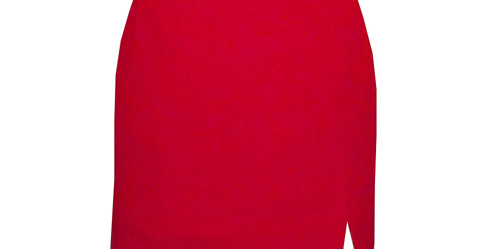 Rhapso Designs Red Mini Skirt featuring side front split front view