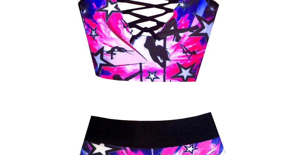 Lace up Polestar print high waist bikini set BK86SH26HP745