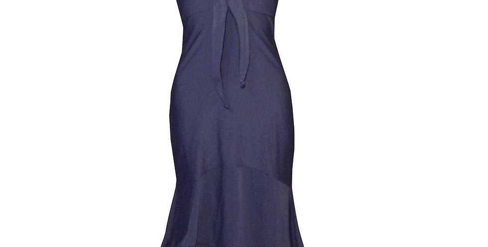 Rhapso Designs Eveningwear Navy Blue Mermaid Knott Cocktail Dress DR17 front view
