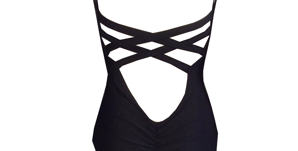 Rhapso Designs Criss Cross Black Leotard Gem13 back view