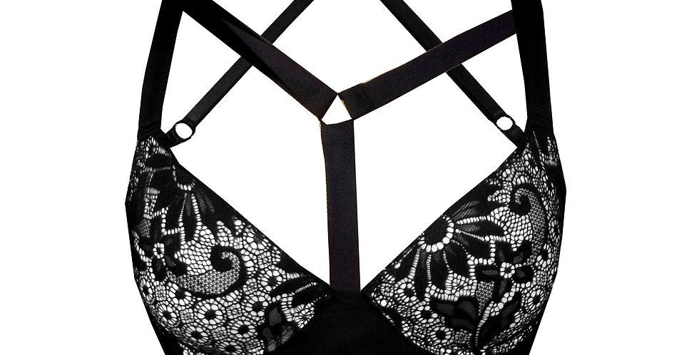 Rhapso Designs Kira Harness Choker Push Up Bra front view