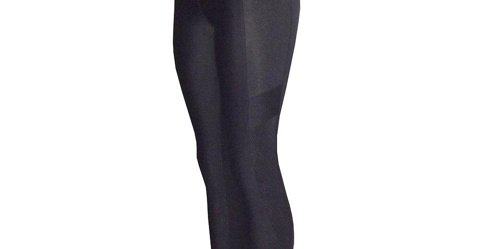 Rhapso Designs High Waist pin dot Aztek pattern black stone panel Full Length Leggings side view