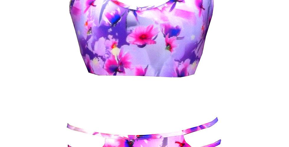 BK37BP03P365 V Neck Floral Print Strappy Bottoms Bikini Set by Rhapso Designs Swimwear front view