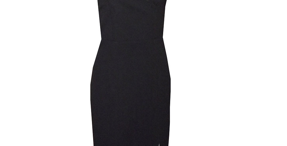 Rhapso Designs Formal Wear Cross Over Thigh Split 3/4 dress in black DR59 front view
