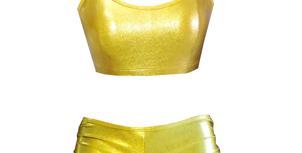 Rhapso Designs Sparkly Gold crop and hot pants set front view