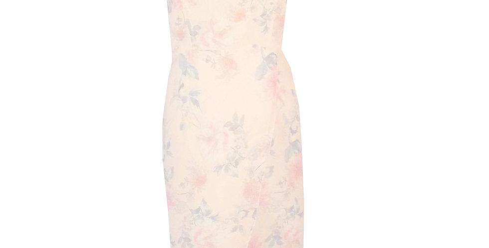 Rhapso Designs event dresses Midi tulip wrap dress in floral print chiffon DR60Bfp2 front view
