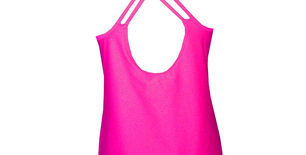 Rhapso Designs Activewear  Criss Cross Strappy Hot Pink Sports Tank Top TK26HP back view