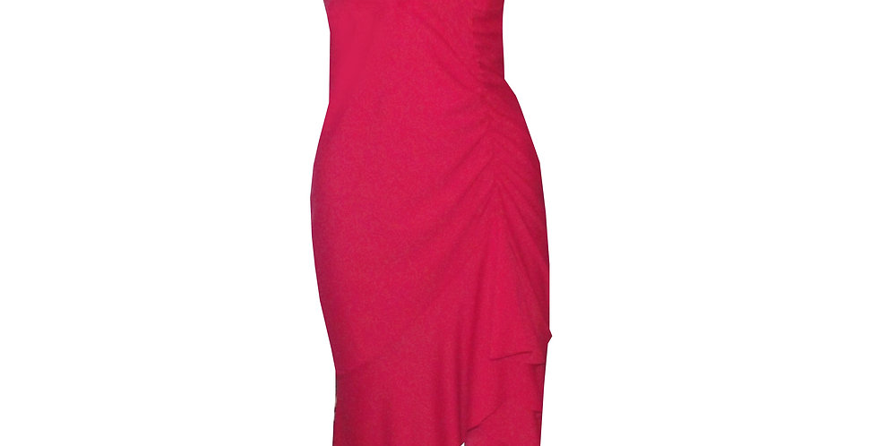 Rhapso Designs Formalwear - Scrunch Side 3/4 Cocktail Dress in red DR39 front view