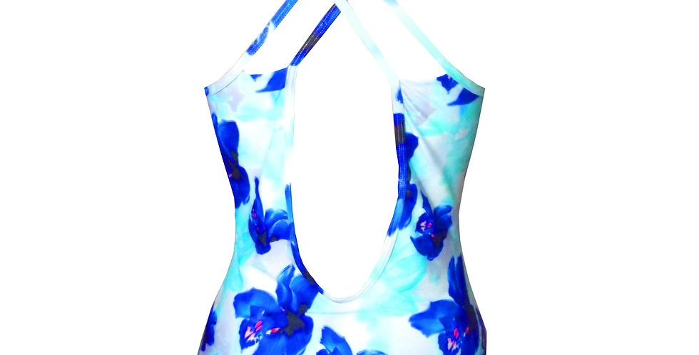 Rhapso Designs Blue Floral Print Cross over wrap Swimsuit Gem14P365 back view