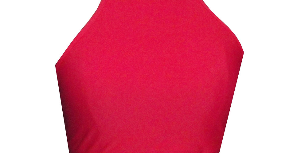 Rhapso Designs Red High Neck Sports Crop Top BK114R front view