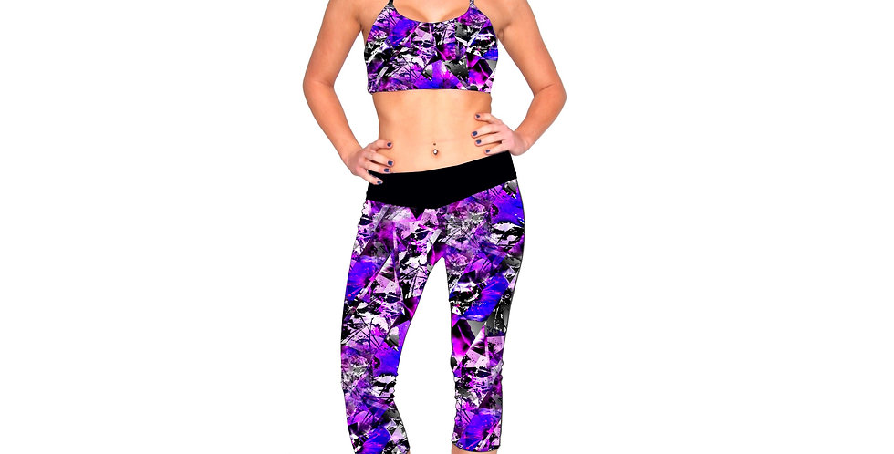 Rhapso Designs shatter glass print 3/4 leggings front view