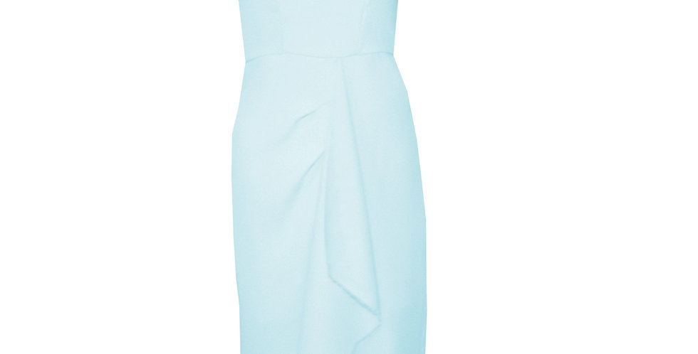 Rhapso Designs Pale Blue High Neck Origami Dress DR29 front view