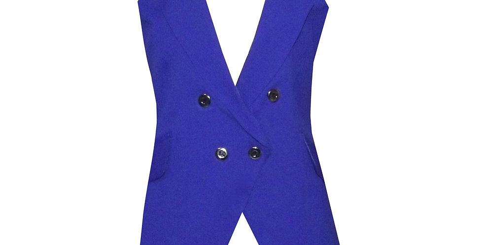 Rhapso Designs Royal Blue Military Style Vest  front view
