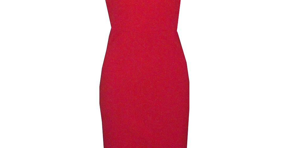 Rhapso Designs Eventwear High Neck Fitted Midi Cocktail Dress with split at the back front view