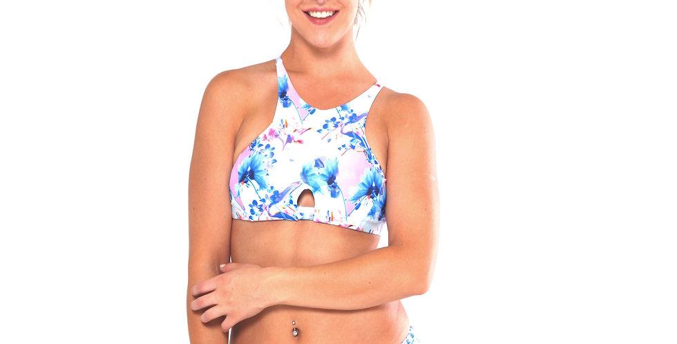 BK21452 Tropicana Print Keyhole High Neck Tank Crop Bikini Set