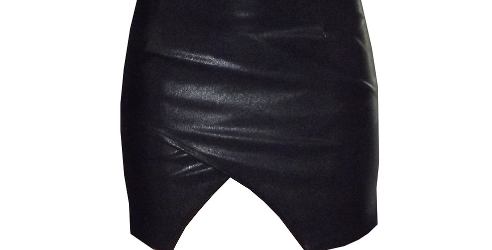 Rhapso Designs- Leather Look Wrap mini skirt front view