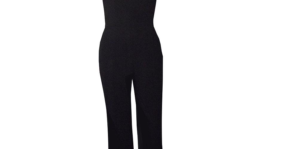 Rhapso Designs Halter Keyhole Jumpsuit in black JS13 front view