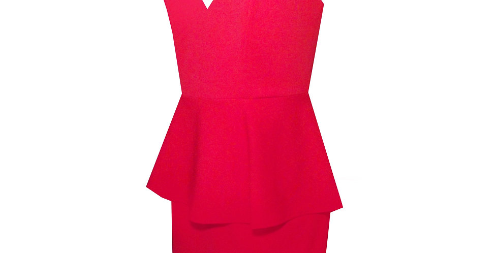 Rhapso Designs Fashion- Mini Peplum Cocktail Dress in red DR66R side view