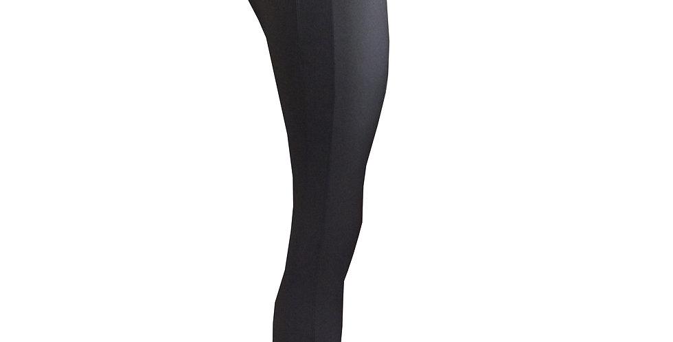 Rhapso Designs Black Full length Leggings feat side panel side view