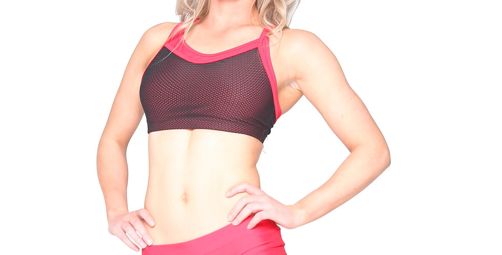 Rhapso Designs Red and black Sports Mesh Crop Top BK134 front view
