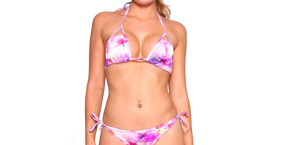 BK5P343 Floral Print String Bikini Set by Rhapso Designs Swimwear front view
