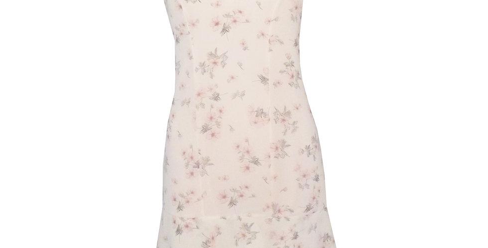 Rhapso Designs Fashion Mini cocktail dress in flirty floral print crepe chiffon front view