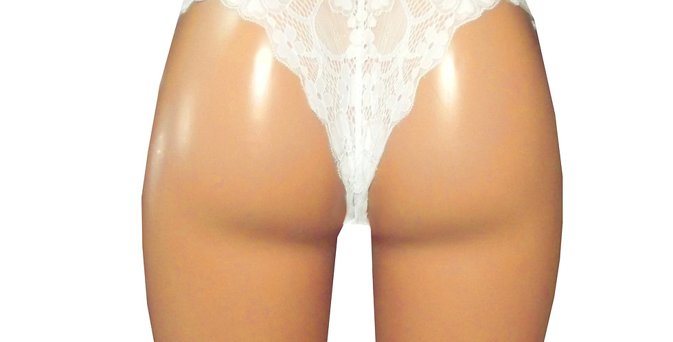 White french lace Knickers featuring cheeky bum coverage  uw34w rhapso designs underwear back view