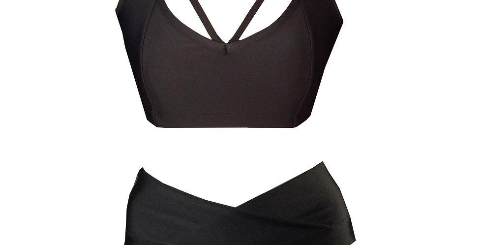 Rhapso Designs black strappy bikini set front view