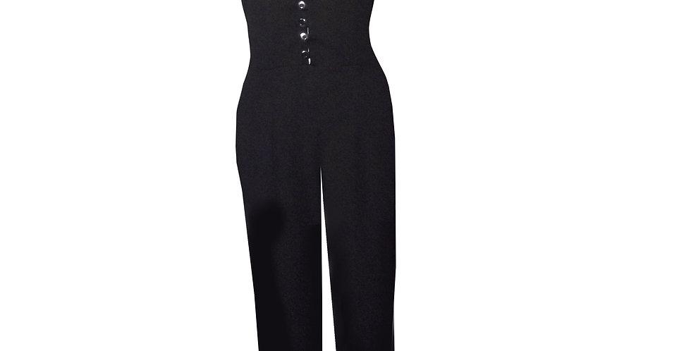 Rhapso Designs Cocktail Dress -Button up Plunging Neckline Jumpsuit in black JS12 front view