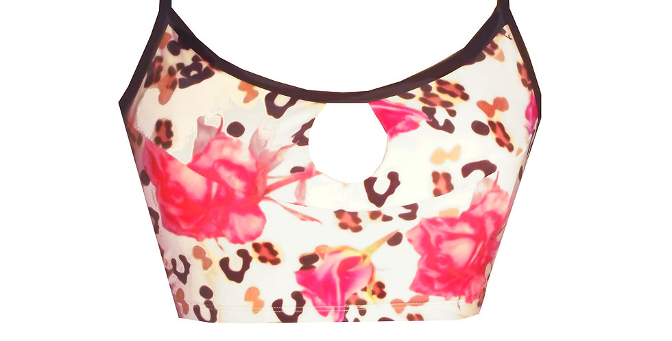 Rhapso Designs Activewear Leopard Rose Print Sports Keyhole Crop Top  CT2P855 front view