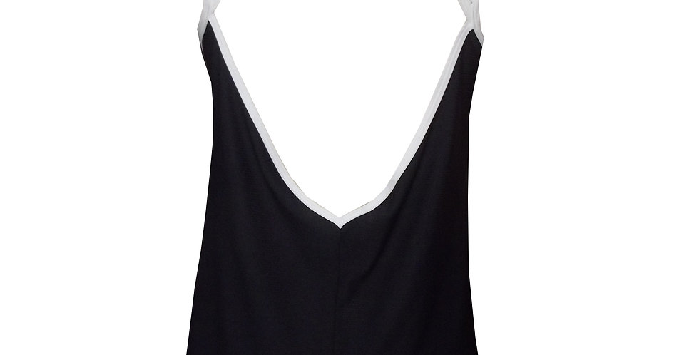 Rhapso Designs Activewear Black and White Sports Tank Top TK50 back view