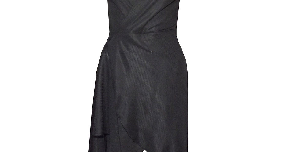Rhapso Designs Mini Short Sleeve Wrap Cocktail Dress in black DR41 front view