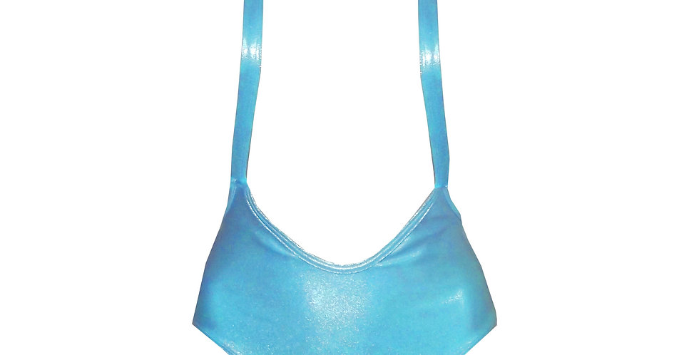 Rhapso Designs 80's Inspired High leg Sparkly Teal Leotard front view