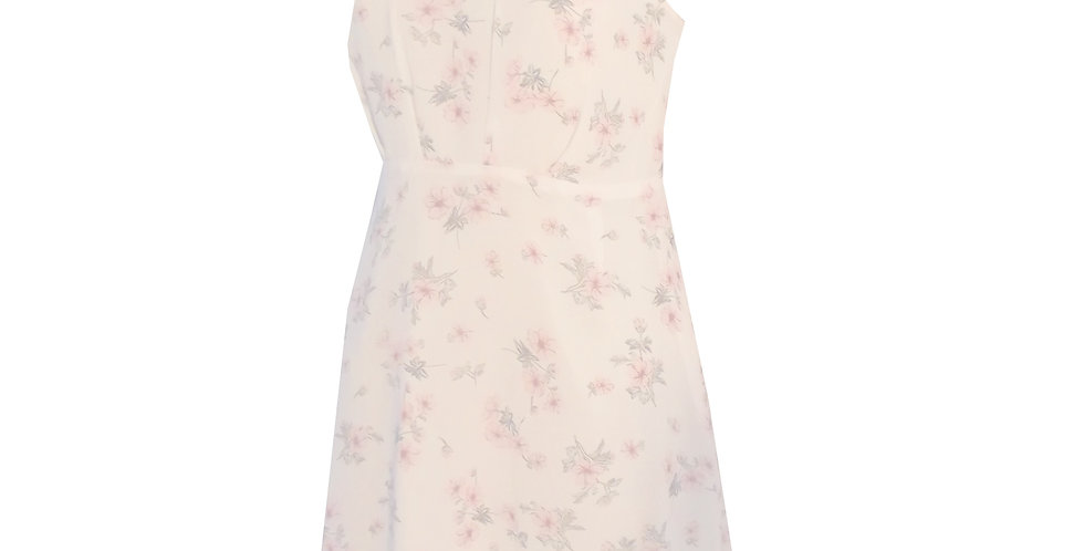 High neck mini cocktail dress in floral print crepe chiffon DR73P4