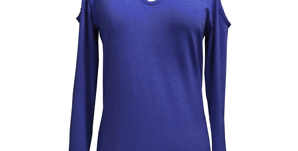Rhapso Designs Marine Blue Grey Cold Shoulder Choker Long Sleeve Top front view