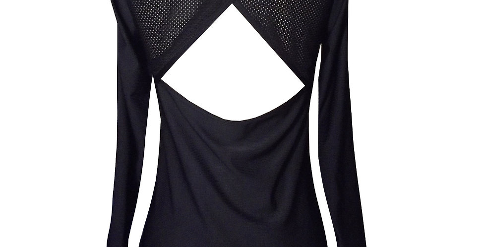 J7 Scoop neck wrap back long sleeve top back view