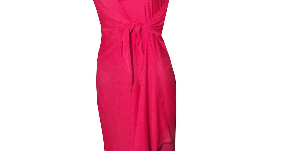 Rhapso Designs Red cross over 3/4 Dinner Dress DR16 side view