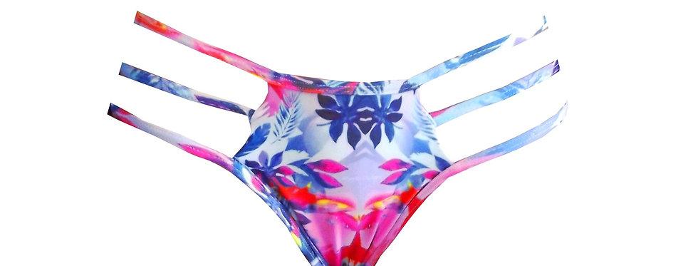 Rhapso Designs BP03 Jungle Print ladder straps bikini bottoms feat scrunch front view