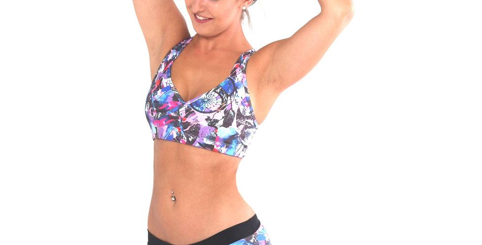 BK50P667 Dreamcatcher Print Contrast V Wrap Bikini Set