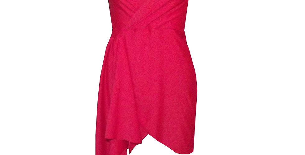 Rhapso Designs Formal wear Mini Short Sleeve Wrap Cocktail Dress in red DR41 front view