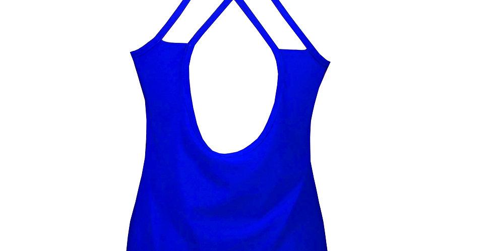 Rhapso Designs Blue XX Racerback Sports tank top back view