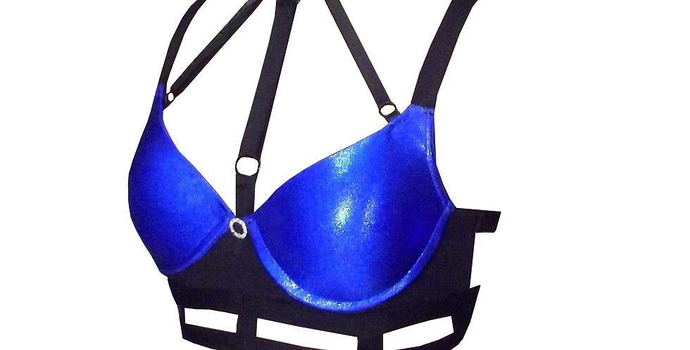 Rhapso Designs Electric Blue Sparkle Cage Choker Push Up Bra side  view