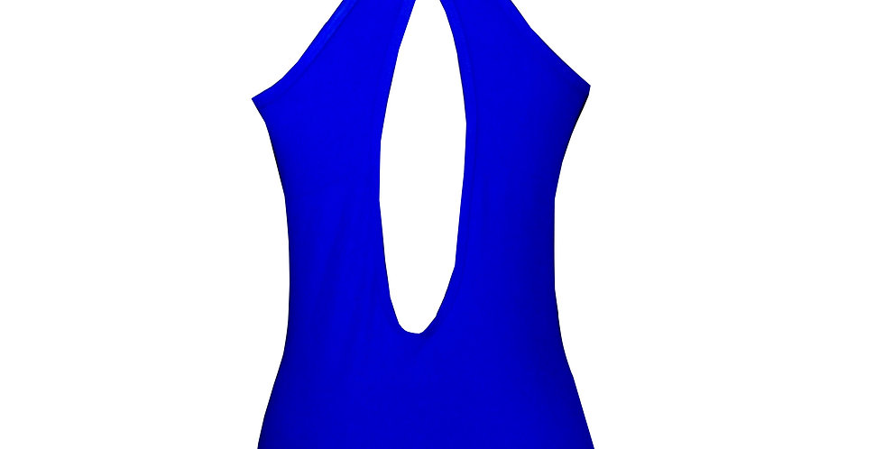 Rhapso Designs Activewear TK52blu Blue Mesh Sports Tank back view