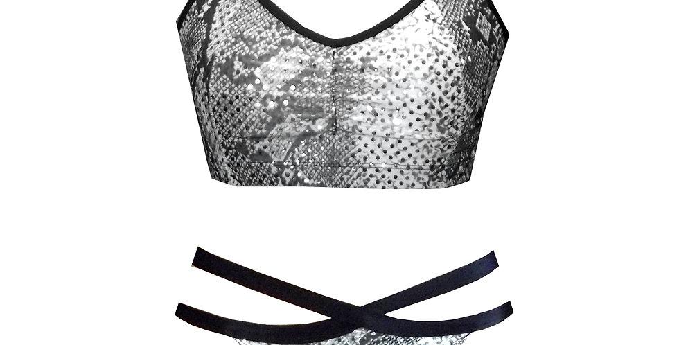 Rhapso Designs Sparkle Snake print scrunchie Bikini Set front view